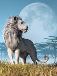 White Lion and Full Moon by deskridge