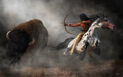 Buffalo Hunt by deskridge
