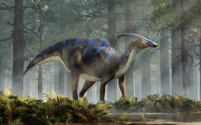 Parasaurolophus in the Woods by deskridge