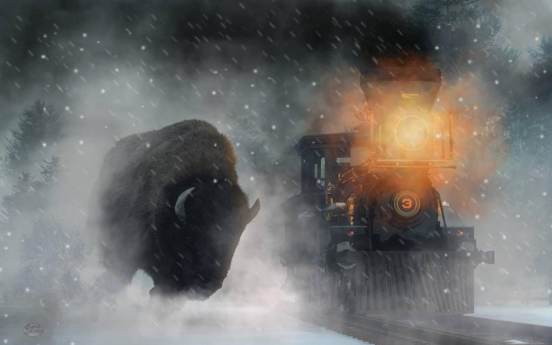 Giant Buffalo Attacking Train by deskridge