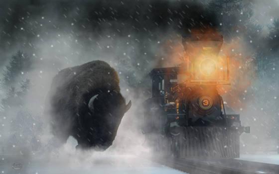 Giant Buffalo Attacking Train