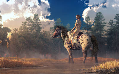 Morning Ride on an Appaloosa by deskridge