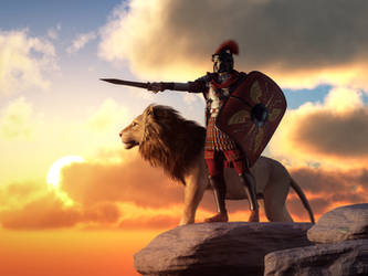 Centurion and Lion by deskridge