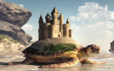 Sea Turtle, Sand Castle