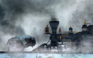 Buffalo versus Train