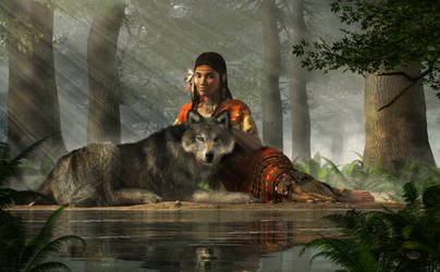 Native American Woman and Wolf