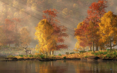 White Hart in an Autumn Valley