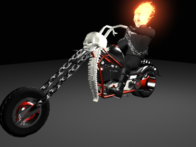 Ghost Rider and the Hellcycle color pass-3D model by