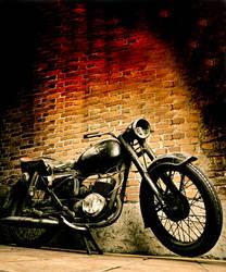 Old motorcycle vertical by turlu