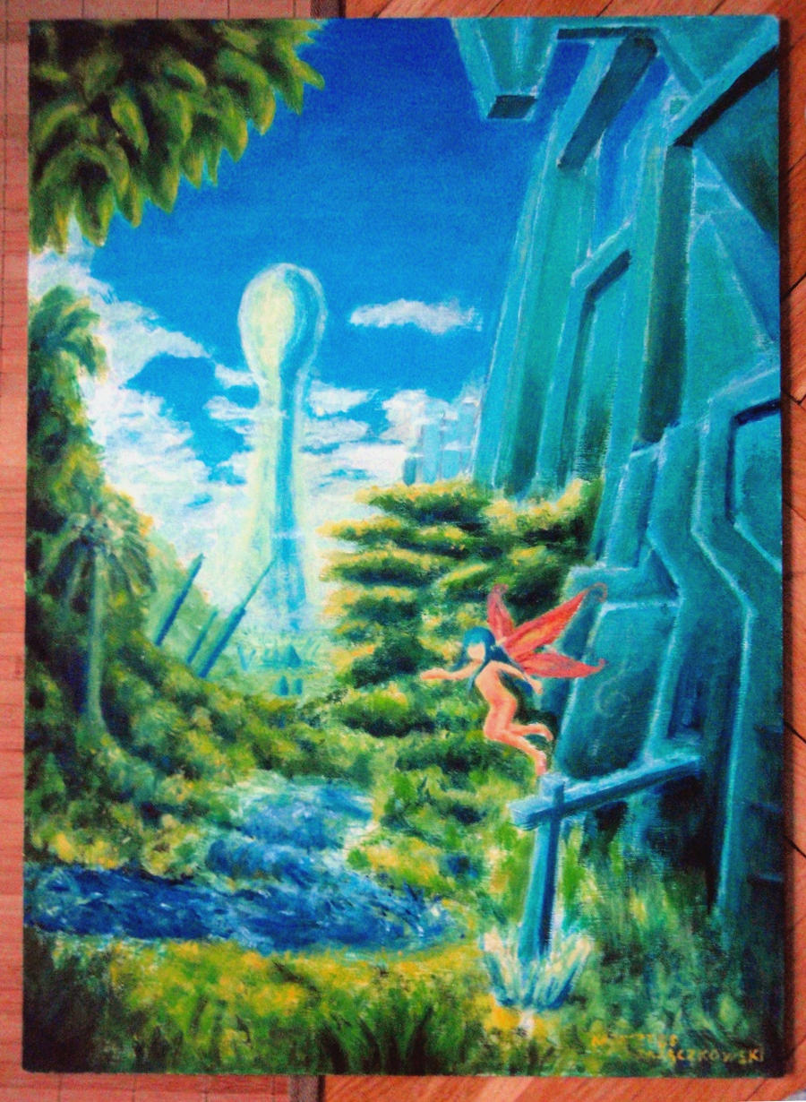 Oil painting fantasy landscape