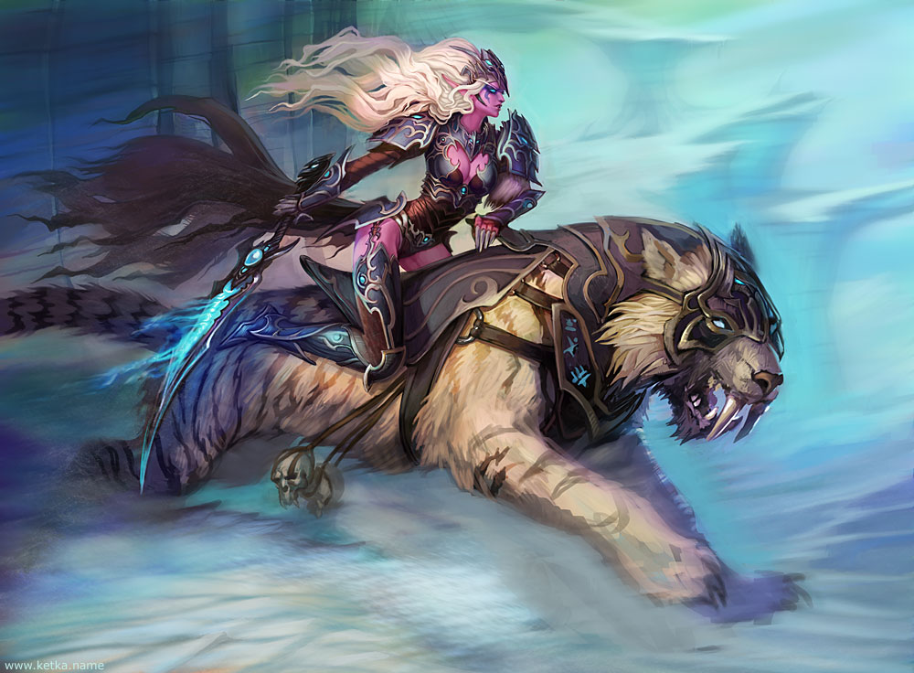 Destrier de combat dans Elfes Night_Elf___Dark_Knight_by_Ketka