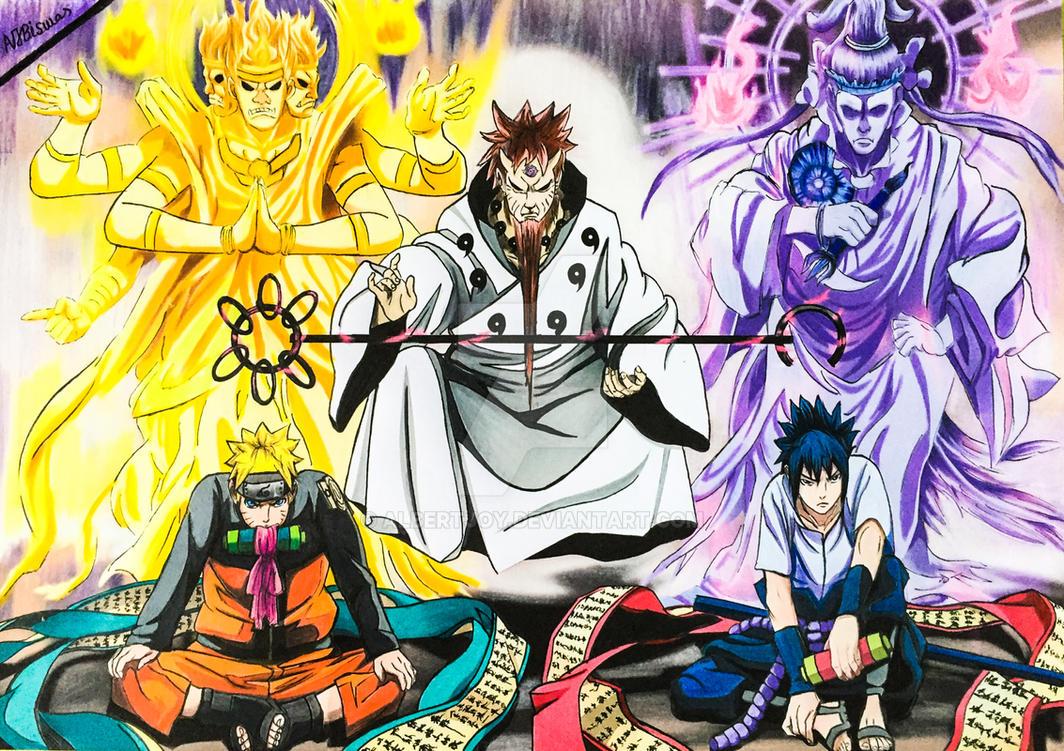 sage of six paths naruto and rinnegan sasuke   by albertjoy