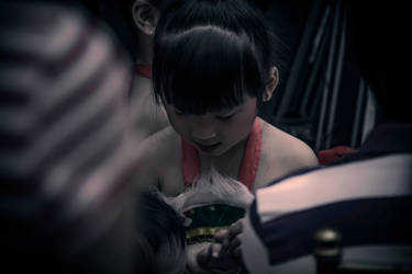 Child getting ready to perform