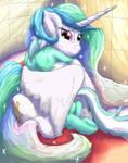 Celestia hugging Lyra (Redone) by Billblok