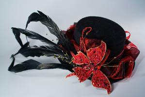 Dark Butterfly Mini top hat by Lastwear