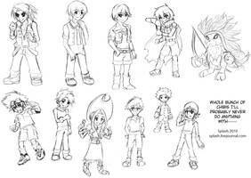 Digimon Chibi Sketch Collage by splashgottaito