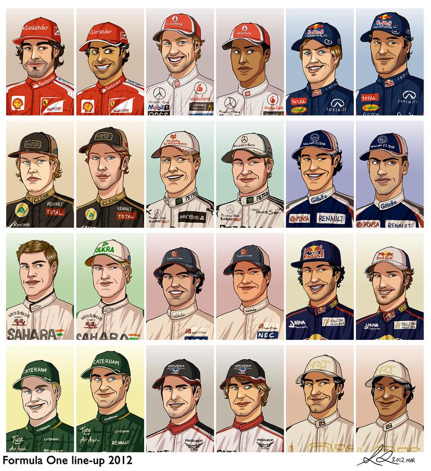 Formula 1 2012 line-up by xelanelho