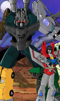 Starscream and Bruticus colors by Mawnbak