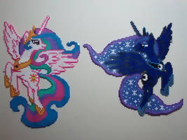 Rulers of Equestria - Celestia and Luna Perlers by Perler-Pop
