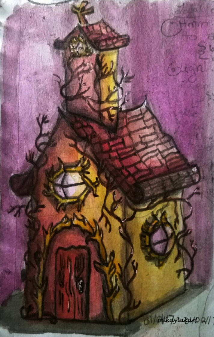 Whimsical Church-- Ink Sketch by MikaylaKArt