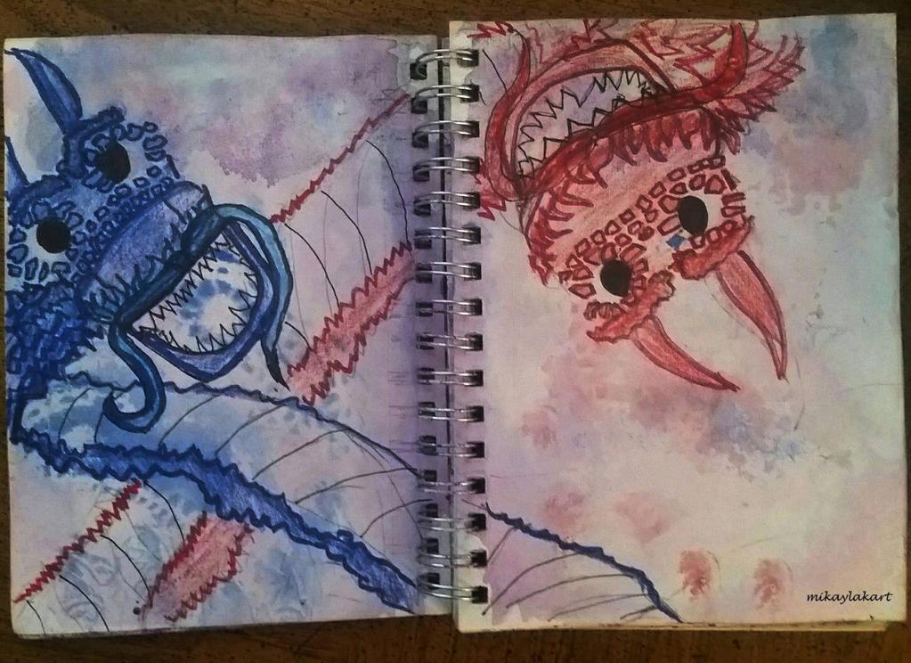 Dragons (Art Journal Spread) by MikaylaKArt