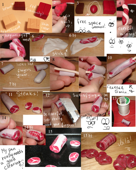 How To Make Meat With Sculpey By Kayanah On Deviantart