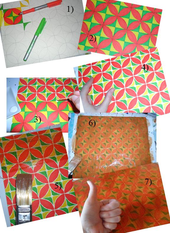 Faux Ceramic Tiled Floor tutorial by kayanah