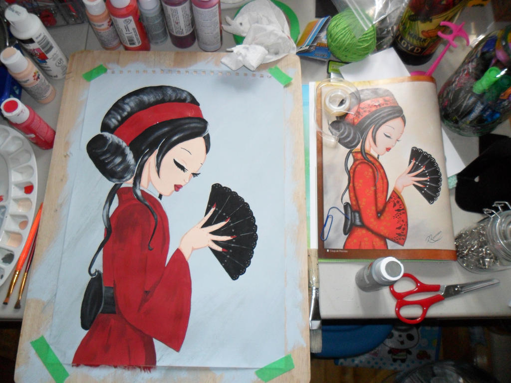 Asian Lady Painting: WIP #3 by kayanah