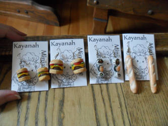 Sushi, Burger and Bread Earrings by kayanah
