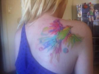 Watercolor Bird Tattoo by lane-nee-chan