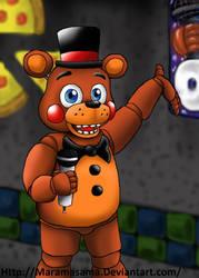 FNAF: Toy Freddy in the hallway by Maramasama
