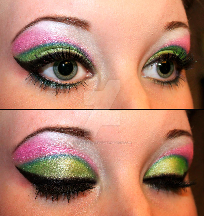 Green And Pink Eyeshadow By Creativemakeup On Deviantart