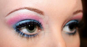 Pink and blue eyeshadow