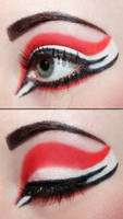 Red and white eyeshadow