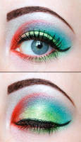 Green and red eyeshadow