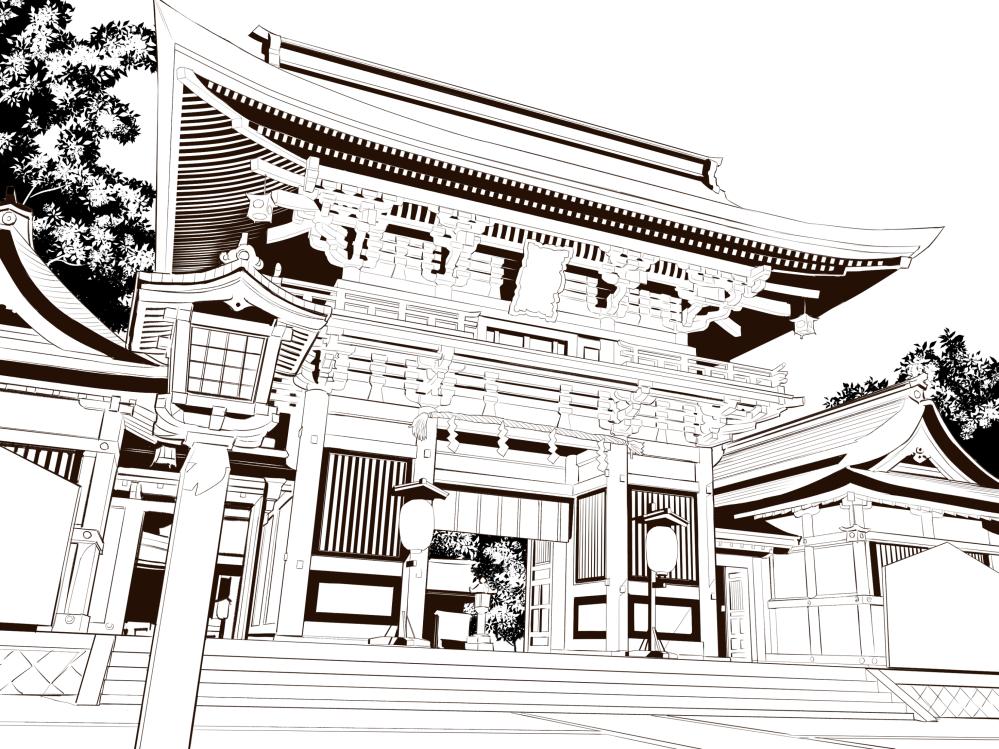 Shrine line art