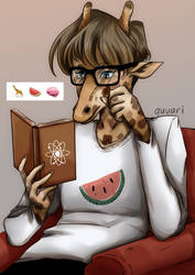 giraffe with a book