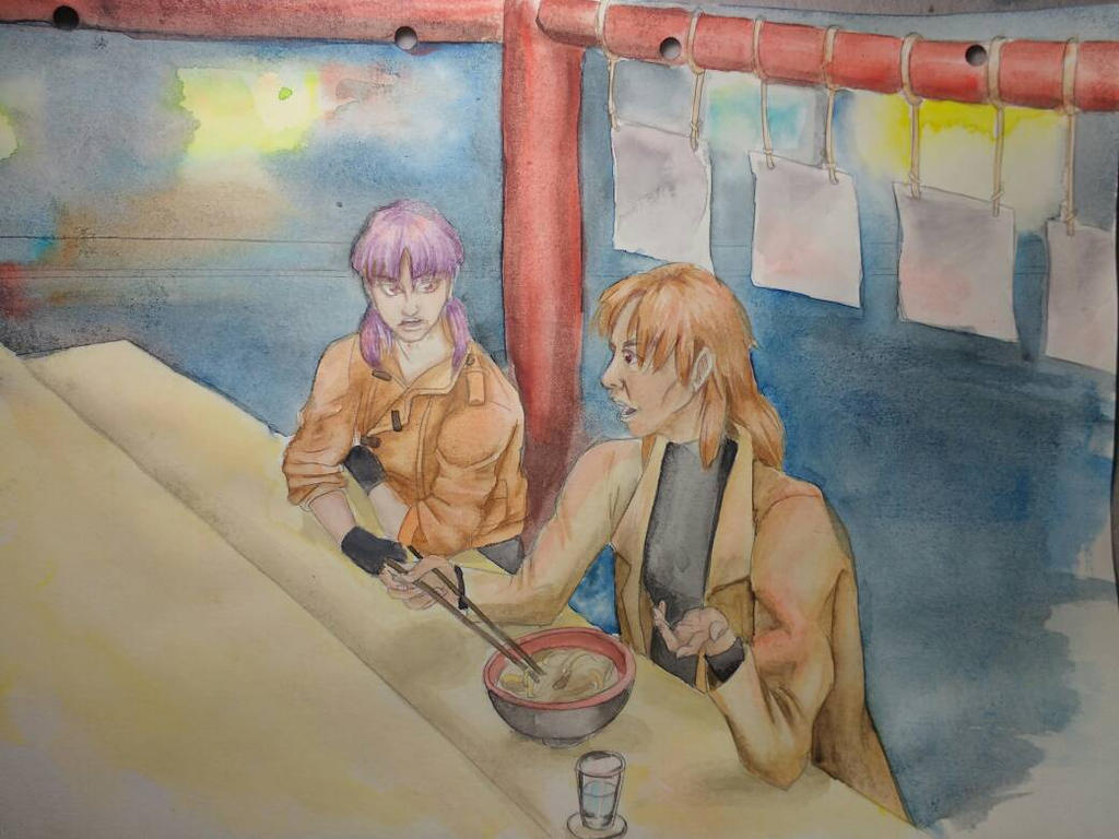 Motoko and Togusa - watercolour by marie-sama