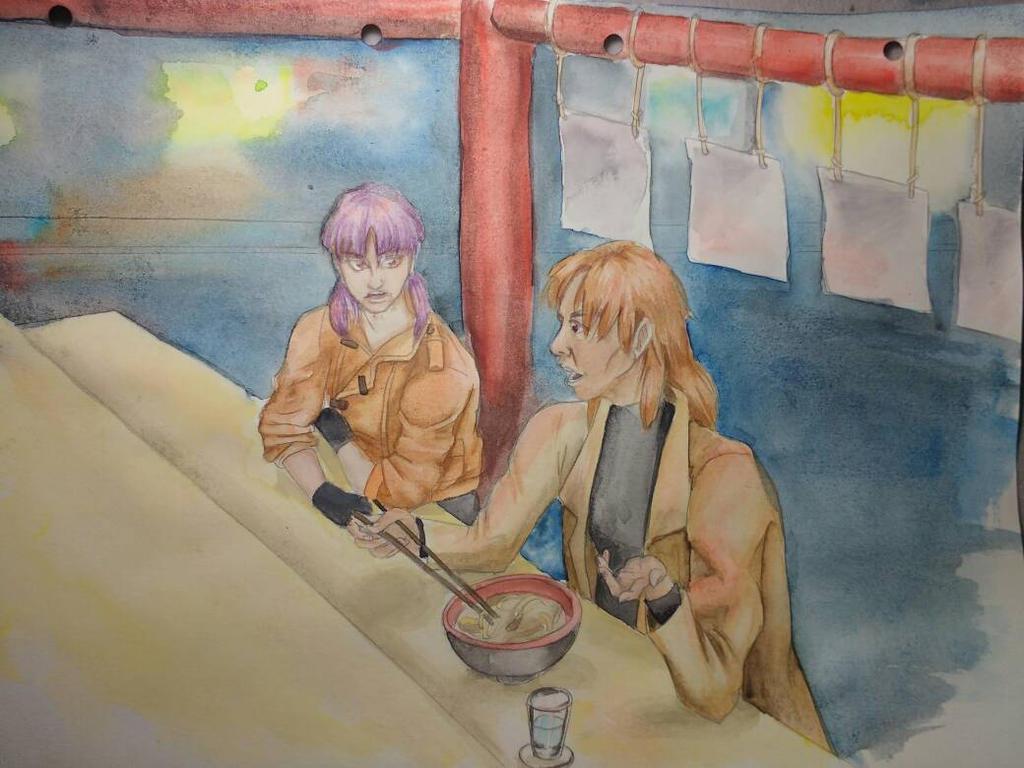 Motoko and Togusa - watercolour by marie-sama