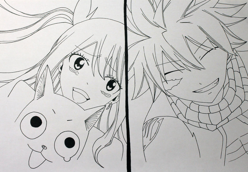 Lucy Heartfilia Lineart : Lucy and natsu lineart by jokerpirate on deviantart