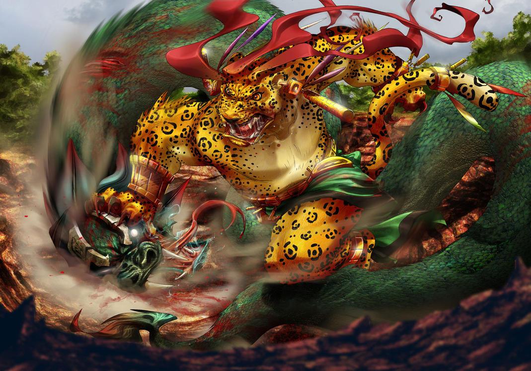 Tezcatlipoca vs quetzalcoatl by gureiduson on deviantart for Mural quetzalcoatl
