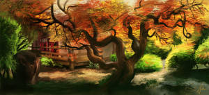 Japanese Garden, speed paint study