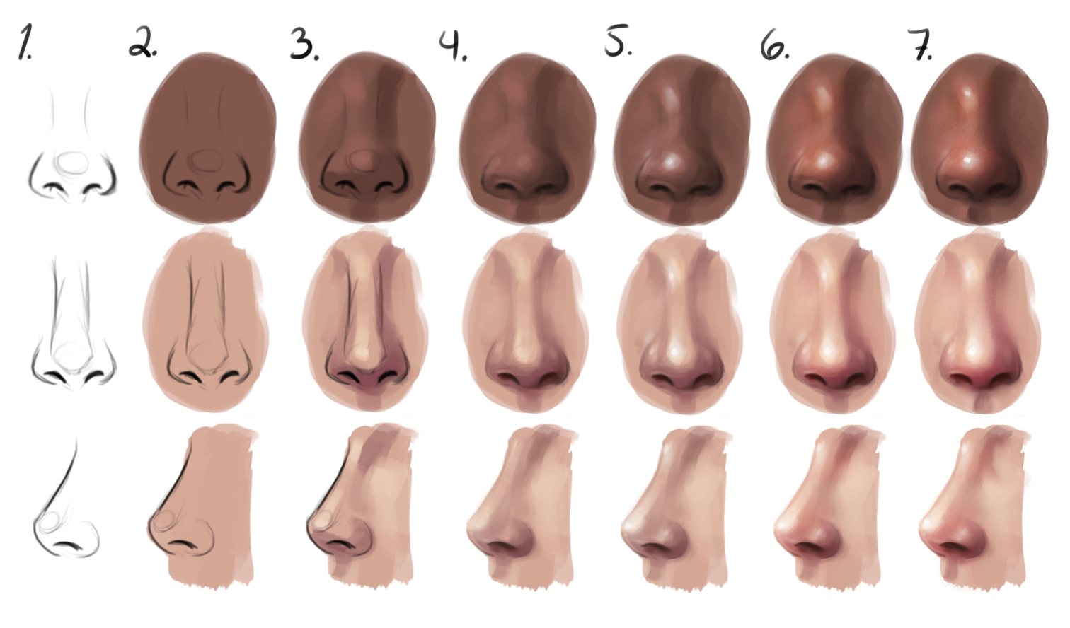 Semirealism Nose  Step By Step By Sandramalie