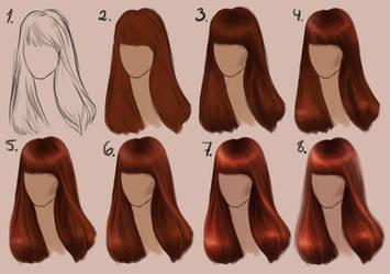 Semi-realistic STRAIGHT HAIR - step by step by SandraWinther