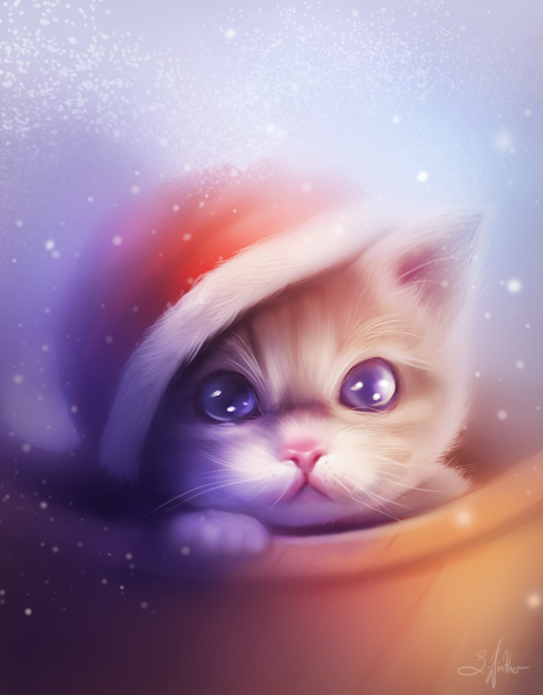 Christmas kitten by Sandramalie