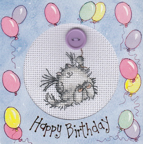 Cat and balloon card cross stitch by Lil-Samuu