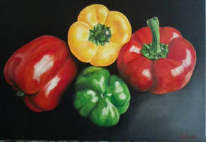 Peppers on canvas