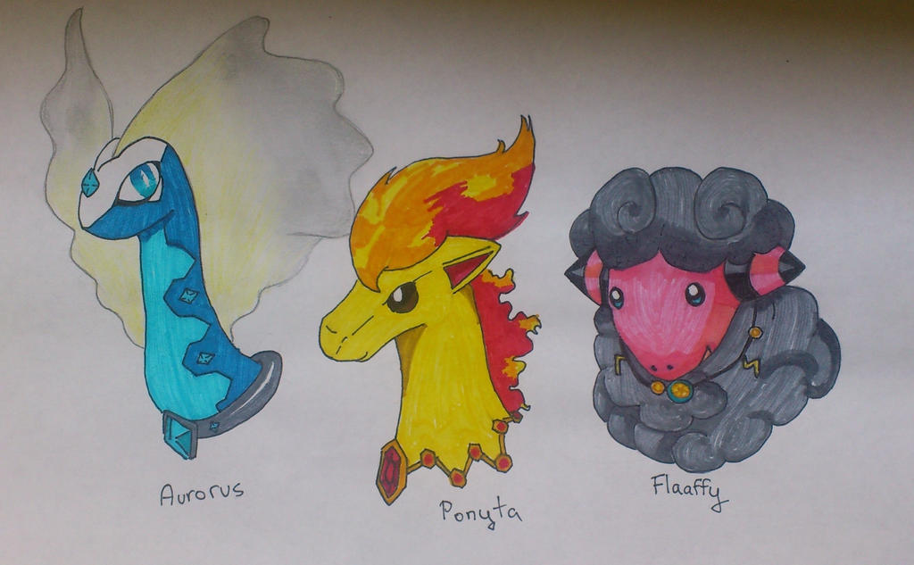Elemental Pokemon with Necklaces by StarLilly08