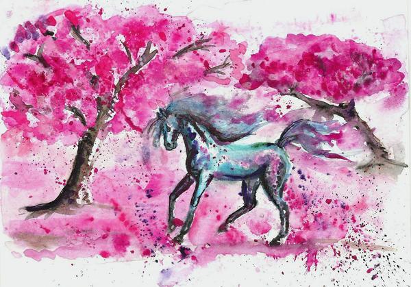 White horse and sakuras by kutiska