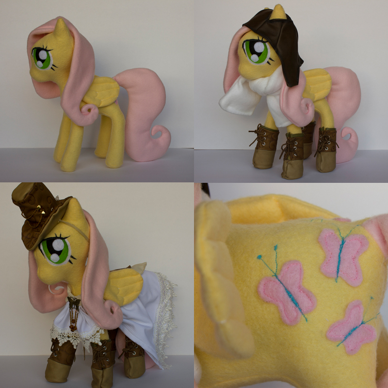 Steampunk Fluttershy plush by CosmicCrafts